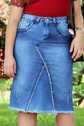 saia jeans evase recortes frontais e desfiados frente