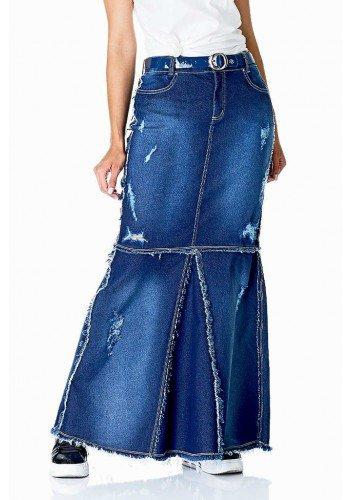 saia longa jeans destroyed com recortes dyork frente baixo