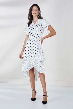 vestido branco transpassado estampa poas agatha cloa frente