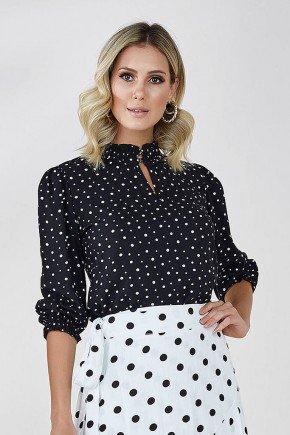 blusa preta manga 3 4 estampa poa bella cloa frente cima