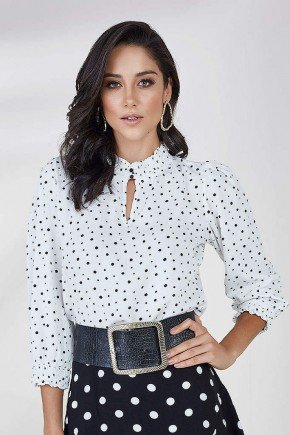 blusa branca manga 3 4 estampa poa bella cloa