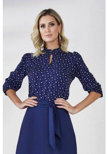 blusa marinho manga 3 4 estampa poa bella cloa frente cima