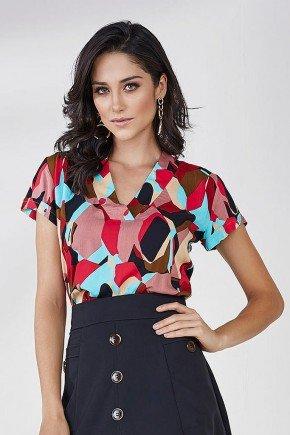blusa estampada vermelho blush aurea cloa frente cima