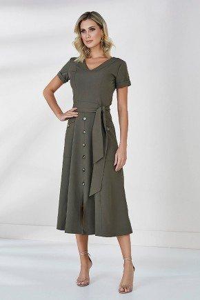 vestido verde evase recorte com botoes cora cloa frente