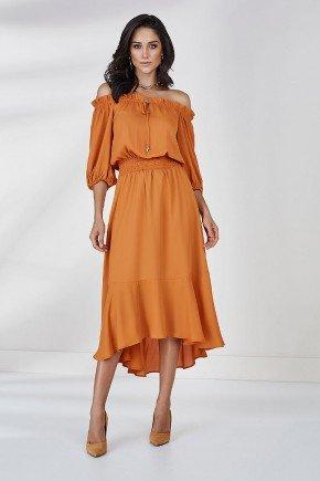 vestido ambar obro a ombro barrado assimetrico amora cloa frente