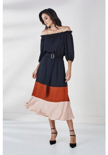 vestido ombro a ombro preto madeira zoe cloa frente