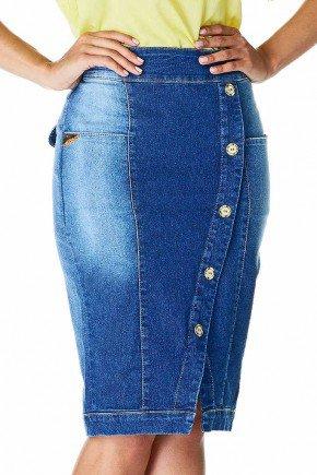 saia jeans azul escuro botoes frontais dyork frente baixo