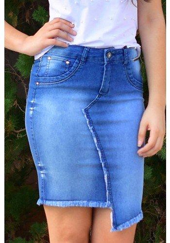 saia jeans recorte frontal barra assimetrica dyork frente baixo