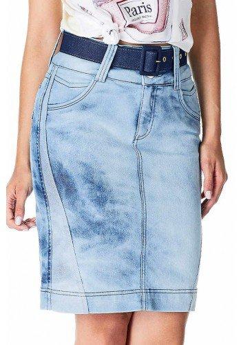 saia secretaria jeans com recortes no avesso dyork frente baixo