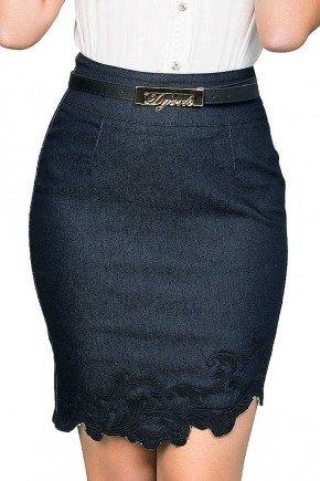 saia feminina curta jeans assimetrica com detalhe em bordado dyork frente baixo