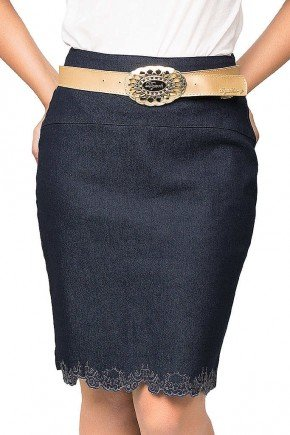 saia jeans escura com bordado na barra dyork frente baixo