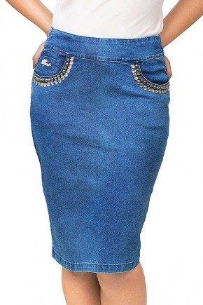 saia jeans midi bolsos bordados dyork frente baixo