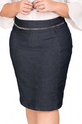 saia jeans escura bordado pedraria no cos dyork frente baixo