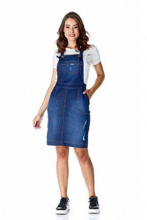 jardineira jeans secretaria com rasgos dyork frente