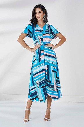 vestido azul claro estampado aurea cloa frente