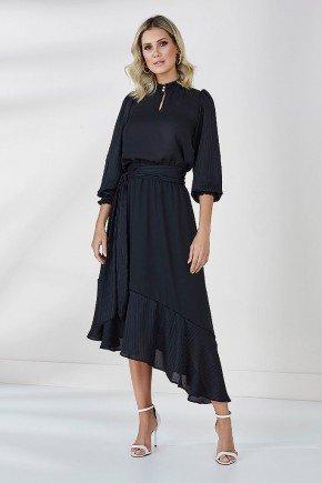 vestido preto barrado assimetrico lauren cloa frente