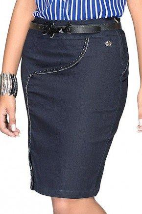 saia jeans azul escuro recortes vivos preto e branco
