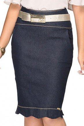saia jeans azul escuro babado no barrado frente