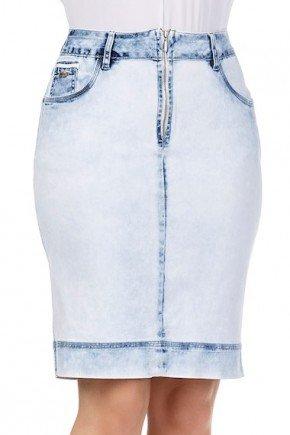 saia secretaria jeans clara com ziper aparente na frente