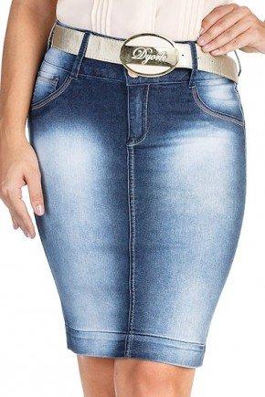 saia secretaria jeans lapis