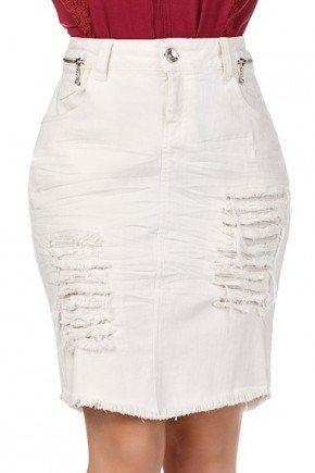 saia secretaria jeans off white com amassados e rasgos