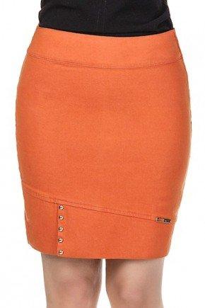 saia curta sarja laranja com prega com tachinhas na barra
