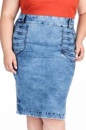 saia jeans com detalhes de pregas e barra com abertura nas laterais