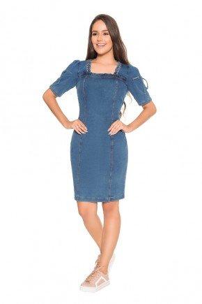 vestido secretaria jeans mangas 3 4 pedrarias nitido frente