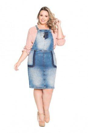 salopete jeans azul plus size nitido frente