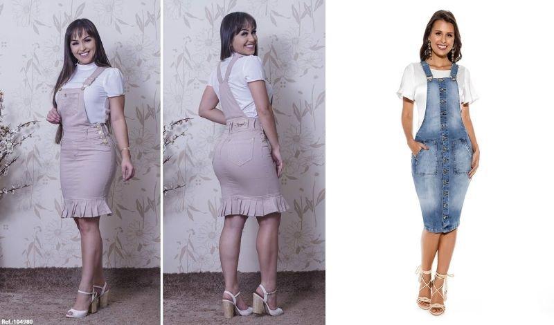 post no blog jardineira saia jeans blusa salto
