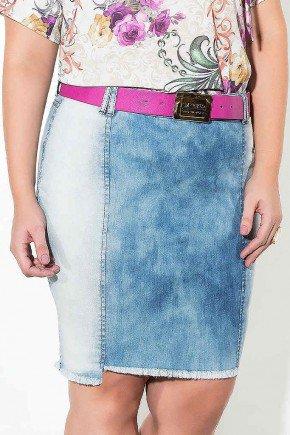 saia jeans mullet azul claro frente baixo