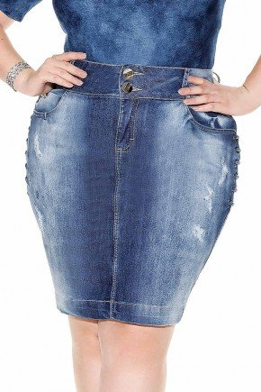 saia plus size jeans lavagem especial detalhes laterais frente baixo