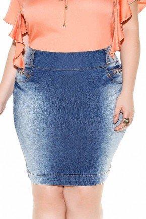 saia jeans azul escuro detalhes em ilhos nos bolsos frente baixo