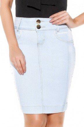 saia jeans azul claro recortes ao longo da peca frente baixo