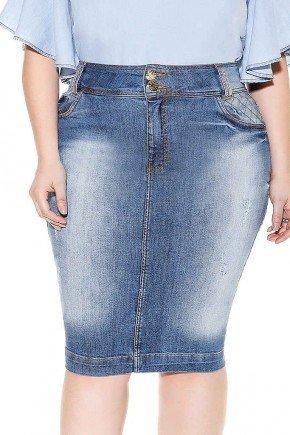 saia jeans detalhes trancados frente baixo