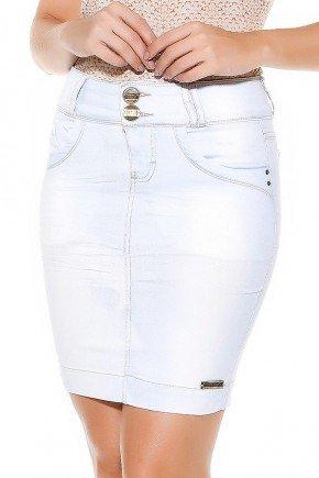 saia jeans tradicional azul claro frente baixo