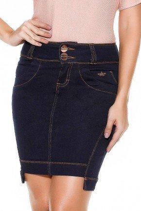 saia jeans azul marinho mullet frente baixo
