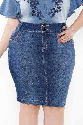 saia jeans detalhe trancado no bolso frente baixo