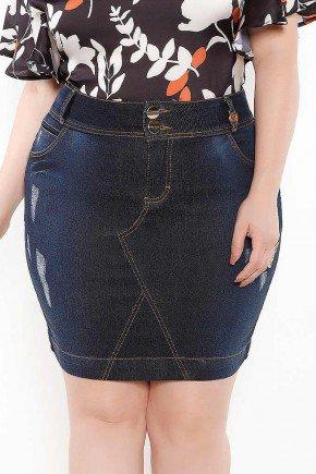 saia jeans azul marinho puidos e recortes imperio jeans frente baixo