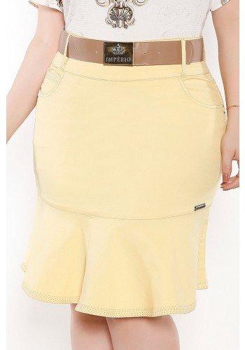 saia sino amarela costuras aparentes imperio jeans frente baixo