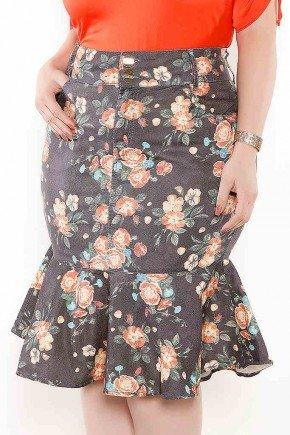 saia sino plus size floral imperio jeans frente baixo