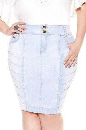 saia azul claro detalhe pregas imperio jeans frente baixo