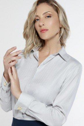 camisa social abotoadura frontal cinza korine principessa