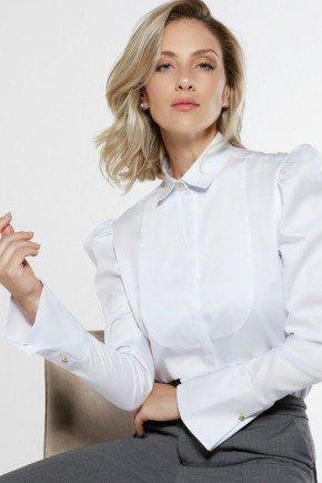 camisa feminina branca punho evase aliane principessa