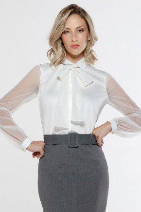 camisa gola laco mangas longas transparente off white seona principessa