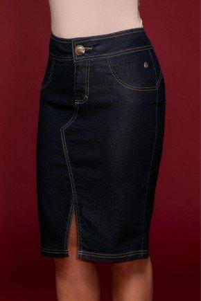 saia azul marinho jeans recorte frontal via tolentino