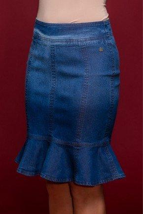 saia jeans recortes e babados no barrado frente