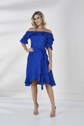 vestido azul royal com babados cloa