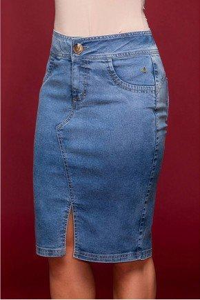 saia jeans azul claro fenda frontal via tolentino frente