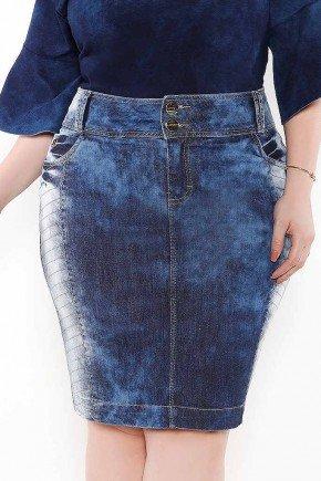 saia plus size recortes laterais imperio jeans frente baixo